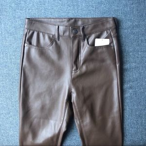 New Free People Faux Leather Pants Brown